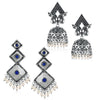 Sukkhi Trendy Oxidised Pearl Peacock Earring Combo For Women
