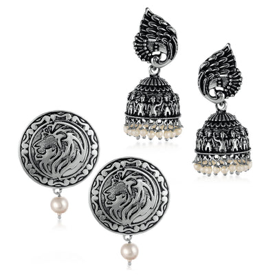 Sukkhi Innovative Oxidised Pearl Peacock Earring Combo For Women