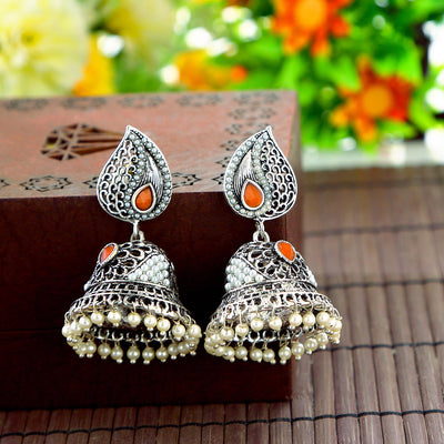 Sukkhi Glistening Oxidised Pearl Peacock Earring Combo For Women