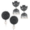 Sukkhi Glistening Oxidised Pearl Earring Combo For Women
