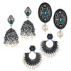 Sukkhi Brilliant Oxidised Pearl Earring Combo For Women