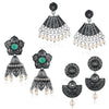 Sukkhi Blossomy Oxidised Pearl Earring Combo For Women