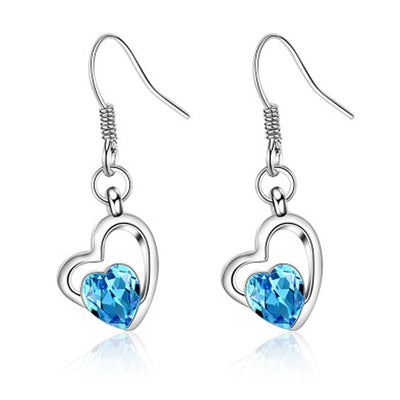 Sukkhi Glittery Crystal Rhodium Plated Floral Earring Combo For Women
