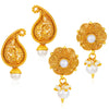 Sukkhi Astonish Pearl Gold Plated Floral Earring Combo For Women