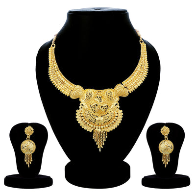 Sukkhi Ethnic 24 Carat Gold Plated Choker Necklace Set Combo For Women