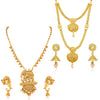 Sukkhi Elegant Pearl Gold Plated Bahubali Long Haram Necklace Set Combo For Women