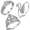 Sukkhi Attractive Crystal Rhodium Plated Ring Combo For Women