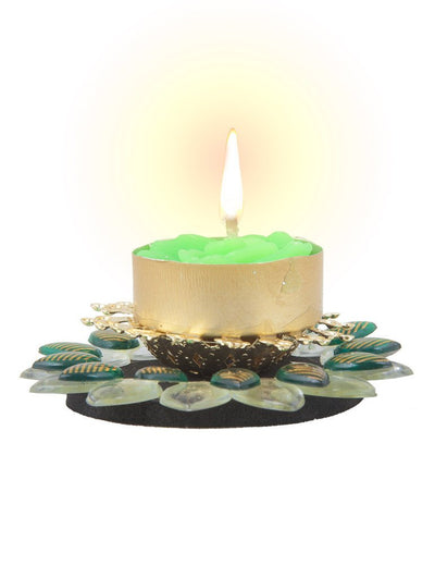 Sukkhi Must-Have Floral Diya Candle in Green-1