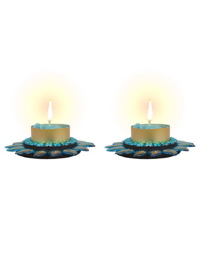 Sukkhi Best Selling Floral Candle Diya in Blue-1