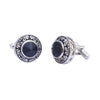 Sukkhi Fancy Rhodium Plated Round Cufflinks For Men
