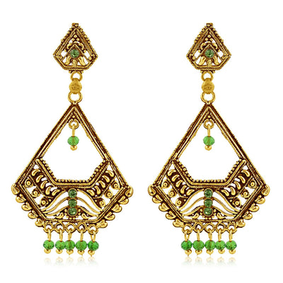 Sukkhi Glimmery Gold Plated Green Studded Dangle Stone Earring For Women
