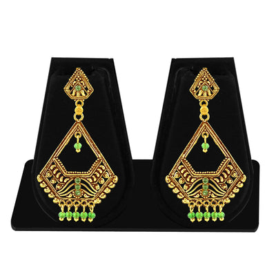 Sukkhi Glimmery Gold Plated Green Studded Dangle Stone Earring For Women-1