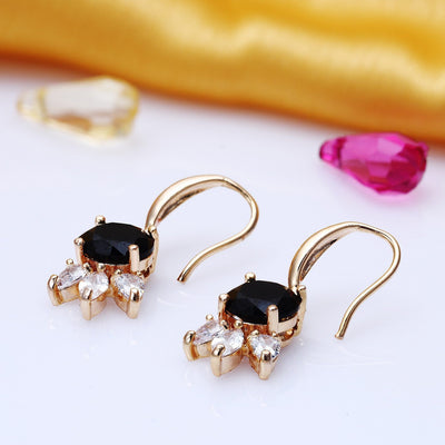 Sukkhi Relish Gold Plated Black Drop Earring for Women