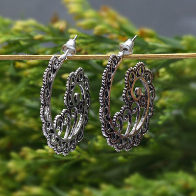 Sukkhi Lavish Rhodium plated filigree design drop earring for women