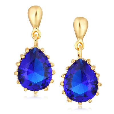 Sukkhi Glimmer Gold Plated Pear Shaped Blue Stud Earring for Women