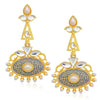 Sukkhi Classic Gold Plated Pearl Blue Mint Meena Collection Chandelier Earring For Women