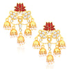 Sukkhi Charming Gold Plated Lotus Meenakari Chandelier Earrings For Women