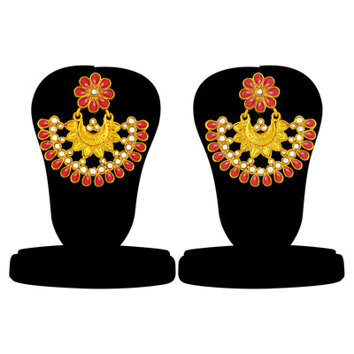 Sukkhi Glimmery Gold Plated Kundan Chandbali Earring For Women
