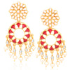 Sukkhi Attractive Gold Plated Pearl Meenakari Chandelier Earrings For Women