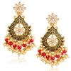 Sukkhi Glittery LCT Gold Plated Floral Pearl Meenakari Chandelier Earring For Women