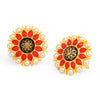 Sukkhi Glimmery Floral Gold Plated Pearl Meenakari Stud Earring For Women
