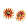 Sukkhi Adorable Floral Gold Plated Pearl Meenakari Stud Earring For Women