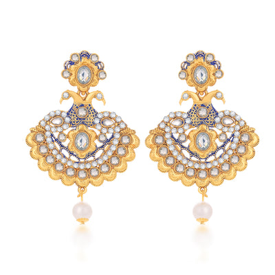 Sukkhi Exclusive Peacock Kundan Gold Plated Earring for Women