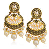 Sukkhi Sparkling LCT Floral Gold Plated Pearl Chandelier Earring For Women