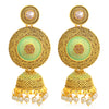 Sukkhi Glitzy LCT Gold Plated Pearl Sky Blue Mint Meena Collection Chandelier Jhumki Earring For Women