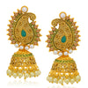 Sukkhi Glamorous LCT Gold Plated Paisley Pearl Green Mint Meena Collection Jhumki Earring For Women