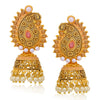 Sukkhi Glittery LCT Gold Plated Paisley Pearl Pink Mint Meena Collection Jhumki Earring For Women