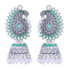 Sukkhi Elegant Oxidised Paisley Mint Collection Pearl Jhumki Earring For Women