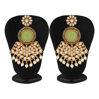 Sukkhi Equisite Gold Plated Mint Meena Collection Chandelier Earring for Women