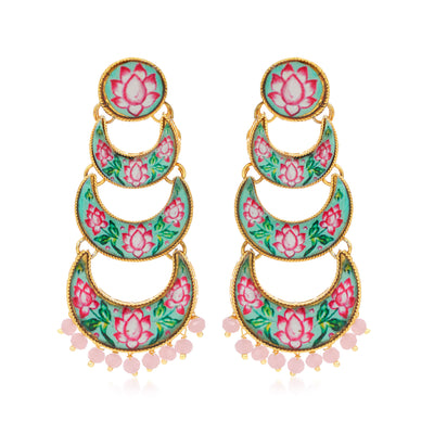 Sukkhi Fashionable Gold Plated Lotus Chandelier Earring for Women
