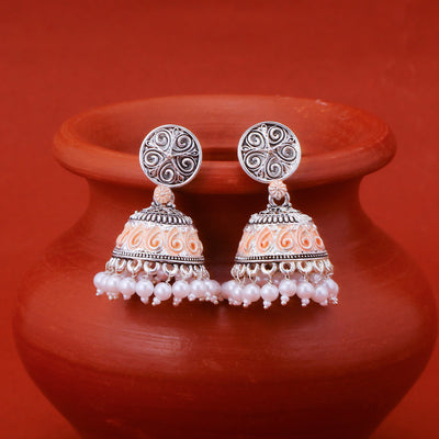 Sukkhi Amazing Oxidised Mint Meena Collection Pearl Jhumki Earring For Women