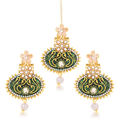Sukkhi Glitzy Gold Plated Floral Dangle Earring & MaangTikka for Women
