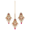 Sukkhi Exclusive Kundan Gold Plated Pearl Earring Maangtikka Set for Women