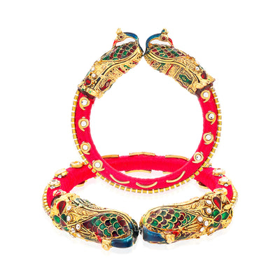 Sukkhi Pleasing Gold Plated Peacock Peacock Kada for Women