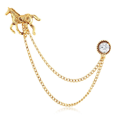 Sukkhi Elegant Gold Plated Horse shaped mens lapel pin