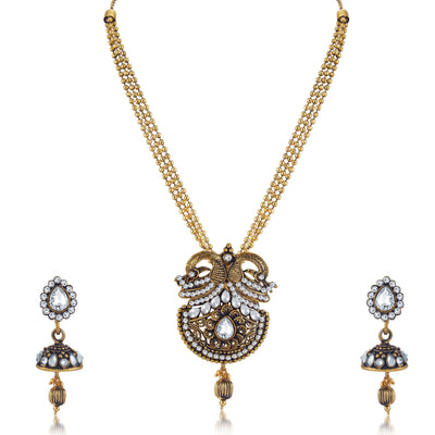 Sukkhi Intricately Crafted Peacock Oxidised Long Haram Necklace Set For Women