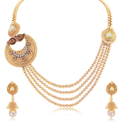 Sukkhi Ethnic 4 String Gold Plated Long Haram Necklace Set For Women