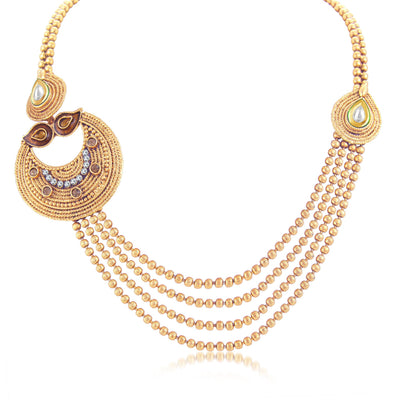 Sukkhi Ethnic 4 String Gold Plated Long Haram Necklace Set For Women-1