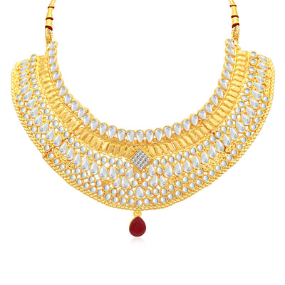 Sukkhi Resplendent Gold Plated AD Choker Necklace Set For Women-1