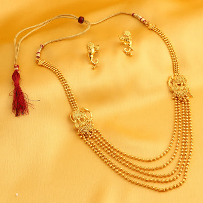 Sukkhi  String Elephant Inspired Gold Plated Necklace Set for Women