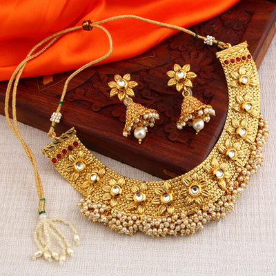 Sukkhi Bollywood Collection Reversible Alluring Floral Design Gold Plated Necklace Set for women