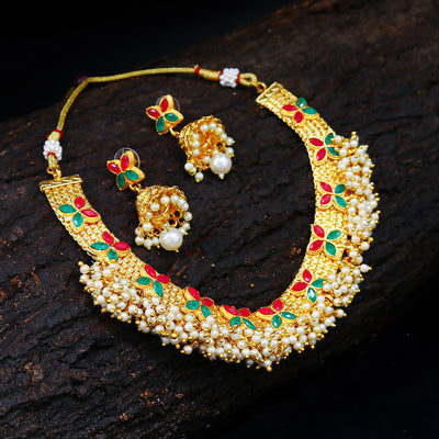 Sukkhi Bollywood Collection Amazing Red and Green Gold Plated Necklace Set for women