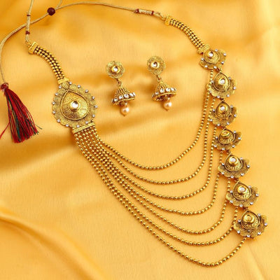 Sukkhi Bollywood Collection Trendy Jalebi Design 7 String Gold Plated Necklace Set for women