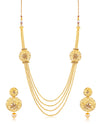 Sukkhi Traditional 4 String Round Gold Plated Necklace set for women