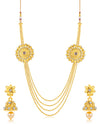 Sukkhi Traditional 4 String Floral Gold Plated Necklace set for women