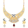 Sukkhi Delightly Peacock Shaped Gold Plated necklace set for women